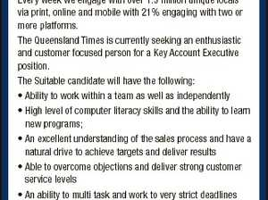 [Opportunities with APN] Key AccOuNt executive QueeNslANd times APN Australian Regional Media (APN ARM) is the leading publisher in regional Queensland and Northern New South Wales. Our portfolio includes 12 daily newspapers, 58 non-daily newspapers and an online Regional News Network of 35 web and mobile sites. Our titles represent ...