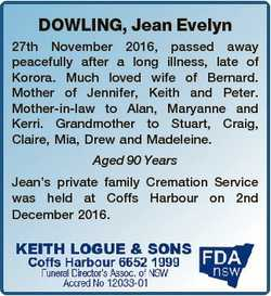 DOWLING, Jean Evelyn 27th November 2016, passed away peacefully after a long illness, late of Korora...