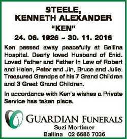 """STEELE, KENNETH ALEXANDER """"KEN"""" 24. 06. 1926  30. 11. 2016 Ken passed away peacefully at B..."""