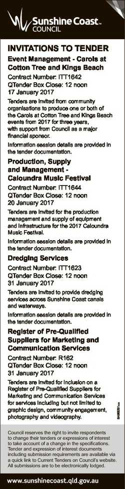 INVITATIONS TO TENDER Event Management - Carols at Cotton Tree and Kings Beach Contract Number: ITT1...