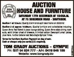 AUCTION HOUSE AND FURNITURE SATURDAY 17TH DECEMBER AT 10:00A.M. AT 75 SORENSEN ROAD - SOUTHSIDE Auct...