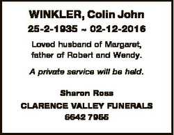 WINKLER, Colin John 25-2-1935  02-12-2016 Loved husband of Margaret, father of Robert and Wendy. A p...
