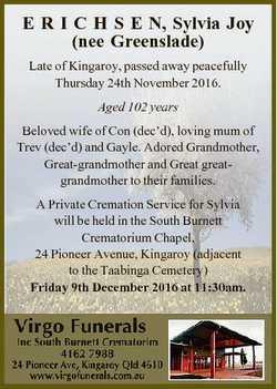 E R I C H S E N, Sylvia Joy (nee Greenslade) Late of Kingaroy, passed away peacefully Thursday 24th...