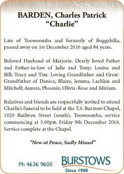 "BARDEN, Charles Patrick ""Charlie"" Late of Toowoomba and formerly of Boggabilla, passed awa..."
