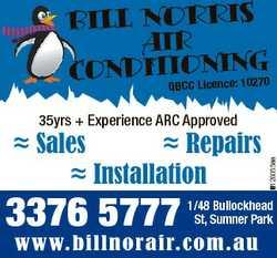 BILL NORRIS AIR IONING70 CONDITQBC C Licence: 102  Sales  Repairs  Installation 3376 5777 6126055aa...