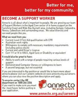 Better for me, better for my community. BECOME A SUPPORT WORKER 6495438aa Annecto is all about what&...
