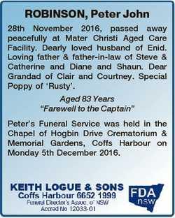 ROBINSON, Peter John 28th November 2016, passed away peacefully at Mater Christi Aged Care Facility....