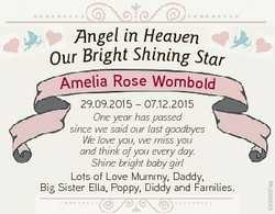 Angel in Heaven Our Bright Shining Star 29.09.2015 - 07.12.2015 One year has passed since we said ou...