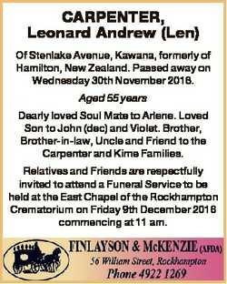 CARPENTER, Leonard Andrew (Len) Of Stenlake Avenue, Kawana, formerly of Hamilton, New Zealand. Passe...
