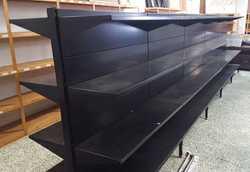 BLACK Supermarket Shelving, double shelves each side, 1.6m high x 6m long, GC, $900, Ph 0407 130...