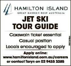 Coxswain ticket essential Casual position Locals encouraged to apply Apply online: www.hamiltonislan...