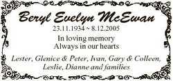 Beryl Evelyn McEwan 23.11.1934  8.12.2005 In loving memory Always in our hearts Lester, Glenice &amp...
