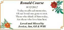 Ronald Course 9/12/2012 Today recalls sad memories, Of our loved one gone to rest. Those who think o...