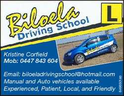 Email: biloeladrivingschool@hotmail.com Manual and Auto vehicles available Experienced, Patient, Loc...