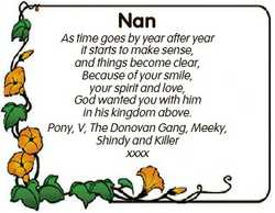 Nan As time goes by year after year it starts to make sense, and things become clear, Because of you...
