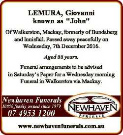 "LEMURA, Giovanni known as ""John"" Of Walkerston, Mackay, formerly of Bundaberg and Innisfai..."