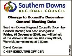 Change to Council's December General Meeting Date David Keenan CHIEF EXECUTIVE OFFICER 6496493aa...