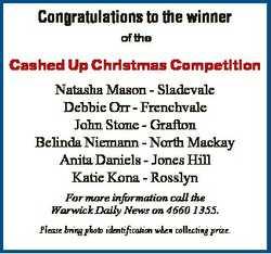 Congratulations to the winner of the Cashed Up Christmas Competition Natasha Mason - Sladevale Debbi...