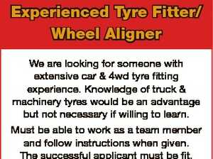 Experienced Tyre Fitter/ Wheel Aligner We are looking for someone with extensive car & 4wd tyre fitting experience. Knowledge of truck & machinery tyres would be an advantage but not necessary if willing to learn. Must be able to work as a team member and follow instructions when given. The successful applicant ...