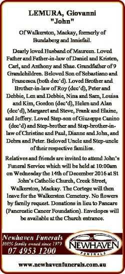 "LEMURA, Giovanni ""John"" Of Walkerston, Mackay, formerly of Bundaberg and Innisfail. Dearly..."