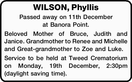 WILSON, Phyllis 