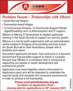 Positions Vacant – Traineeships with SBcare 