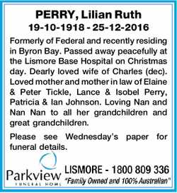 PERRY, Lilian Ruth   19-10-1918 - 25-12-2016   Formerly of Federal and recently residing...