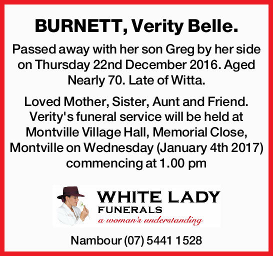 Passed away with her son Greg by her side on Thursday 22nd December 2016. Aged Nearly 70. L...