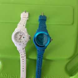 1 white Ice Watch $50 1 green/teal LOVE Ice Watch $50