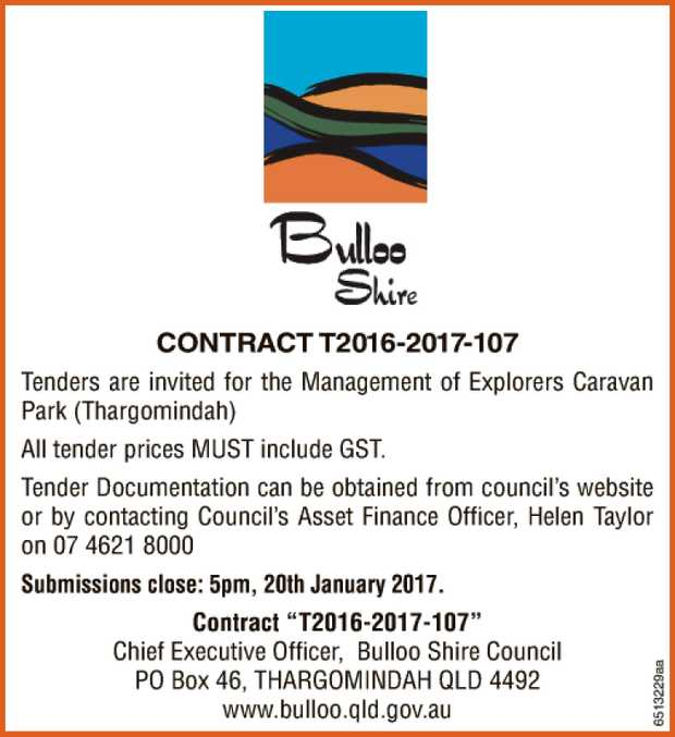 CONTRACT T2016-2017-107 Tenders are invited for the Management of Explorers Caravan Park (Thargom...
