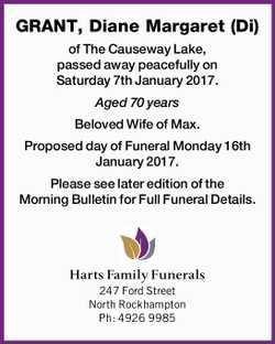 GRANT, Diane Margaret (Di)   of The Causeway Lake, passed away peacefully on Saturday 7th Jan...