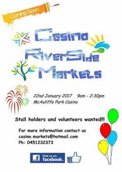 Starting in January, Currently searching for stall holders and volunteers. Find our page on facebook