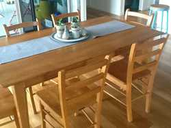 Solid timber; 6 chairs and rectangular table L168cm X W91cm  X  H77cm. Good condition.