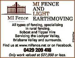 MI FENCE AND LIGHT EARTHMOVING 6154407aa All types of fencing, specialising in rural fencing. Bobcat...