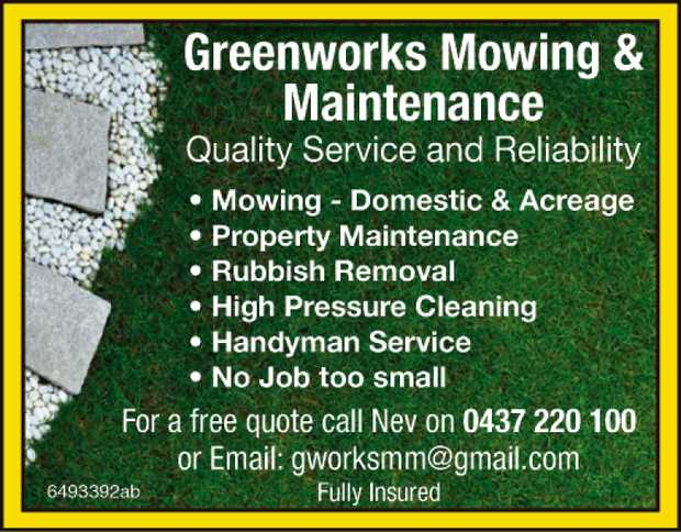 Quality Service & Reliability    Mowing - Domestic & Acreage  Property...