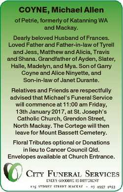 COYNE, Michael Allen of Petrie, formerly of Katanning WA and Mackay. Dearly beloved Husband of Franc...