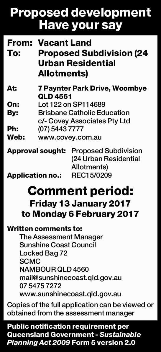 Proposed development Have your say From: Vacant Land To: Proposed Subdivision (24 Urban Residenti...
