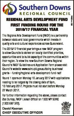 The Regional Arts Development Fund (RADF) is a partnership between state and local governments which...