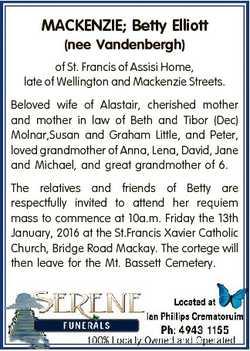 MACKENZIE; Betty Elliott (nee Vandenbergh) of St. Francis of Assisi Home, late of Wellington and Mac...