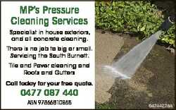 MP's Pressure Cleaning Services Specialist in house exteriors, and all concrete cleaning. There...