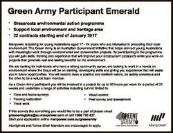 Green Army Participant Emerald Grassroots environmental action programme Support local environment a...
