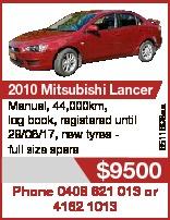 6511698aa 2010 Mitsubishi Lancer Manual, 44,000km, log book, registered until 28/06/17, new tyres fu...