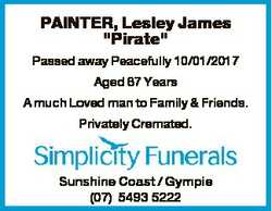 """PAINTER, Lesley James """"Pirate"""" Passed away Peacefully 10/01/2017 Aged 67 Years A much Love..."""