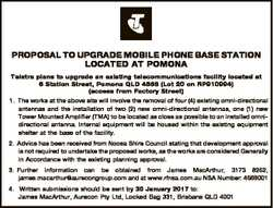 PROPOSAL TO UPGRADE MOBILE PHONE BASE STATION LOCATED AT POMONA Telstra plans to upgrade an existing...