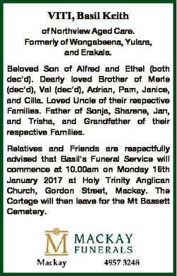 VITI, Basil Keith of Northview Aged Care. Formerly of Wongabeena, Yulara, and Erakala. Beloved Son o...