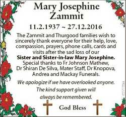 Mary Josephine Zammit God Bless 6517155aa 11.2.1937  27.12.2016 The Zammit and Thurgood families wis...