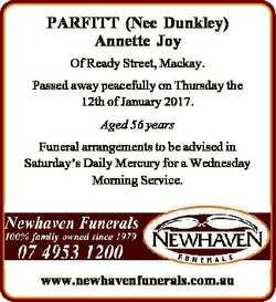 PARFITT (Nee Dunkley) Annette Joy Of Ready Street, Mackay. Passed away peacefully on Thursday the 12...