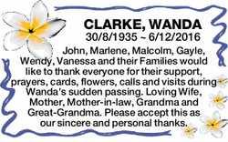 CLARKE, WANDA 30/8/1935 ~ 6/12/2016 John, Marlene, Malcolm, Gayle, Wendy, Vanessa and their Famil...