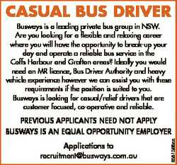 Casual Bus Driver Busways is a leading private bus group in NSW. Are you looking for a flexible and...