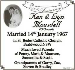 50 th Anniversary Ken & Lyn Mousdell (O'Connell) Married 14th January 1967 in St. Bedes Cath...